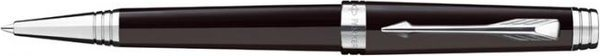 Parker Premier Twist Mechanism Ballpoint Pen Lacquer Deep Black Silver Trim