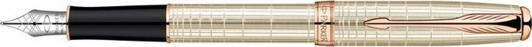 Parker Sonnet Fountain Pen Silver Chiselled / Pink Gold Trim